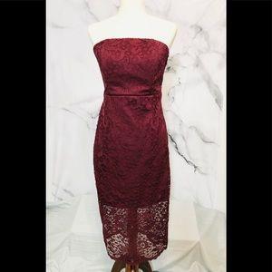 Lulu's Lace Strapless Bodycon Dress